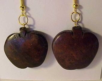 COCONUT SHELL EARRINGS~Made with Vintage South Pacific Naturals~Apple Shaped Coconut Shell Earrings~for Pierced Ears