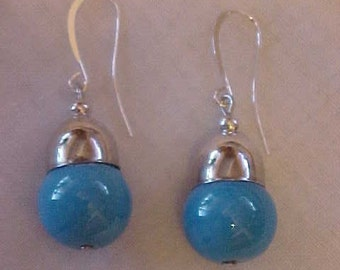 Drop Earrings made with ROBIN'S EGG BlUE GLASS Beads~~Topped with Pretty Silver-Tone Caps~for Pierced Ears~Lovely and Feminine