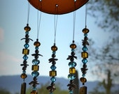 Reserved for Janet Windchime Amber Glass Suncatcher with Sky Blue