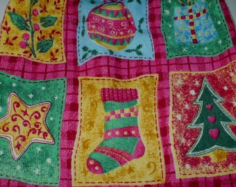 Christmas Kitchen Towel with Crocheted Top