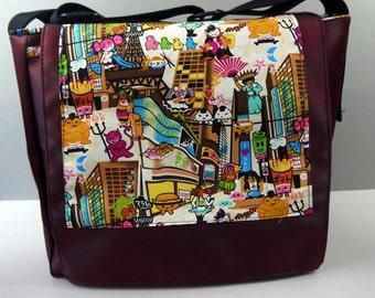 Kawaii Vinyl Messenger Bag