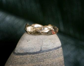 14k Large Leaf Ring | Stacking Ring | Nature Inspired