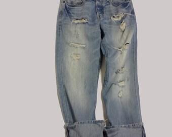 31 Inch Raw Destroyed Vintage AE Boyfriend  jeans denim jeans