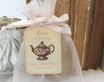 Tea Party Favor Kit DIY Organza Bags and Small Teapot Tags  Soft Pink