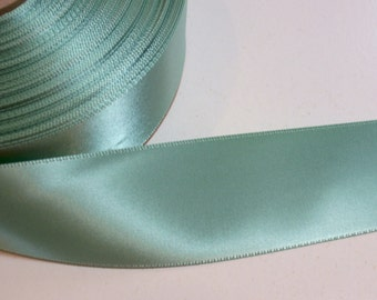 Green Ribbon, Peapod Green Satin Ribbon 1 1/2 inches wide x 8 yards, Double-Faced Offray Ribbon