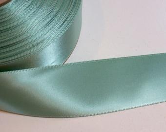 Green Ribbon, Peapod Green Satin Ribbon 1 1/2 inches wide x 10 yards, Double-Faced Offray Ribbon