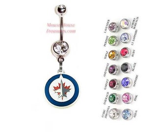NHL Winnipeg Jets Logo Belly Ring. Authentic Charm on Your Choice of Gem Colors!