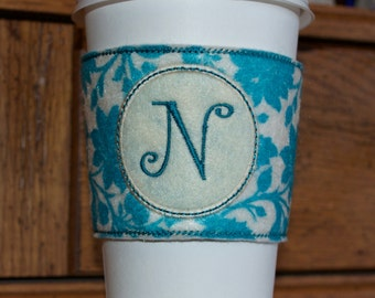 Monogramed Coffee Cozy Sleeve - Teal Floral