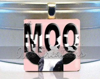 60% OFF CLEARANCE Scrabble tile pendant - Moo Cow (WRD219)