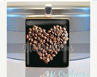 60% OFF CLEARANCE Scrabble tile pendant necklace - Love My Coffee (COF006)