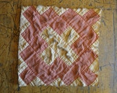 Antique Quilt Piece   Vintage Quilt Piece    Old Quilt PIece    Cutter Quilt Piece    Coffee Dyed Quilt Square   Listing Is For 1