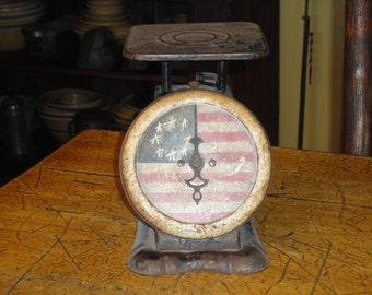 Vintage Kitchen Scale | Old Pelouze Manufacturing Co. Scale | Hand Painted Americana Scale