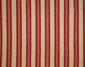 Red Ticking Material | Cotton Ticking Material | Red Stripe Material | Twill Ticking | Sold By The Yard
