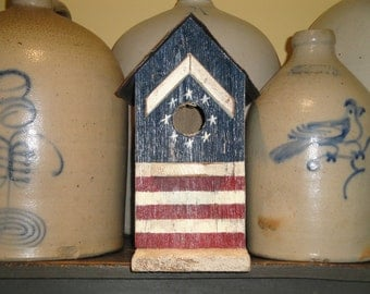 Americana Birdhouse Made From Salvaged Material With Metal Roof