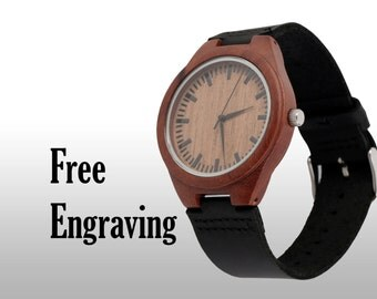 Engraved Watch, Wood Watch, Engraved Wood Watch, Wooden Watch, Leather Strap, Red Wood, Customized, Personalized Gift
