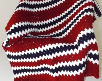 Red, white, and blue crochet baby blanket