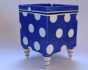 Big Blue ceramic Planter with whimsical Black & White striped beetlejuice legs, whimsical polka-dots delft blue pottery