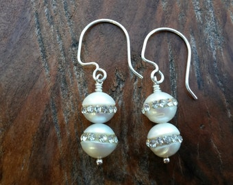 Handcrafted Solid Silver and Freshwater Pearls with Crystals embedded in the centers