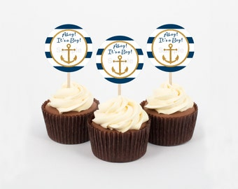 Nautical Cupcake Toppers / Ahoy It's a Boy / Anchor Baby Shower / Gold Glitter / Baby Boy / INSTANT DOWNLOAD A224