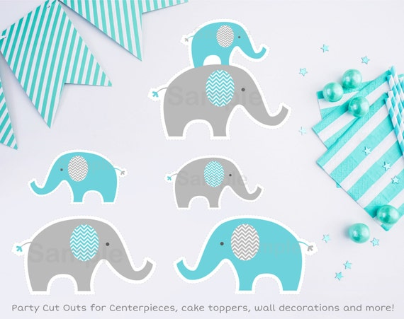 Blue elephant cut outs elephant cut outs wall decor for Baby shower decoration cutouts