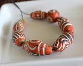 Ceramic African Beads - Orange Collection