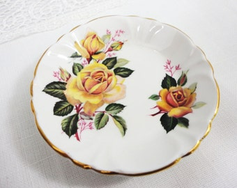 Princess Home Bone China Butter Pat Dishes - Choose Yellow Rose or Purple Violets