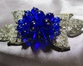 Vintage Miriam Haskell Rhinestone and Glass Brooch   RESERVED