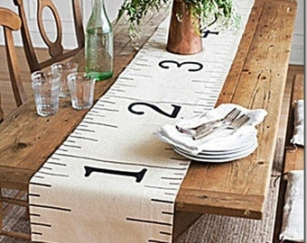 Painter's Drop Cloth Canvas Ruler Table Runner 96""