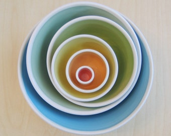 Large Rainbow Nesting Bowls - Ceramic Pottery Stoneware Serving Set - Wedding Gift