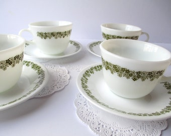 Vintage Pyrex Corelle Spring Blossom Green Floral Cups and Saucers Set of Four