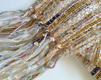 sheer handwoven scarf, in a spring creamy white blend