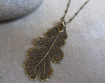 Leaf Necklace, Antiqued Brass, Lacey Oak Leaf, Woodland, Earthy, Fall, Autumn, Irisjewelrydesign