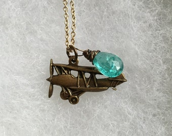 For the traveler vintage plane airplane faceted aqua ocean apatite teardrop pear briolette charm necklace pendant