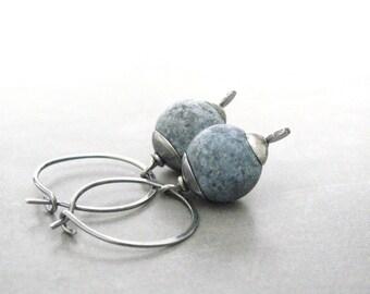 hoop earrings with blue sodalite beads, denim blue gemstone earrings, oxidized sterling silver hoop earrings