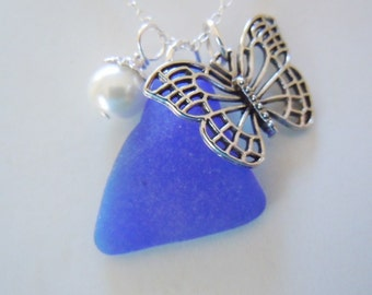 Butterfly Necklace Blue Beach Glass Necklace Sea Glass Necklace Seaglass Pendant Jewelry