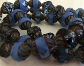 Czech Glass Beads 11x10mm Turbine Opal  blue and transparent blue montana, picasso finish
