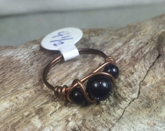 Blue Goldstone and Copper Ring
