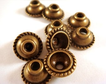 12 Antique Bronze Domed Bead Caps Rope Design Tibetan Silver 10x5mm 2mm hole NF/LF/CF - 12 pcs - F4157BC-AB12