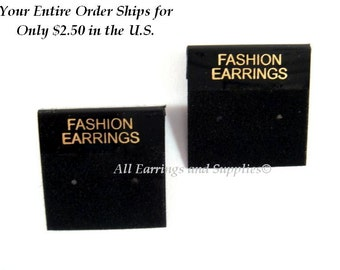 """10 Earring Cards, Flocked Plastic, Black and Gold, with """"FASHION EARRINGS"""", 1x1 in (25mm) - 10 pc - MS11044-EC10"""