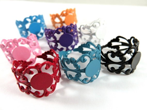 SALE - 8 Filigree Ring Blank Base Copper Assorted Colors 8mm Pad - 8 pc - R8001-AS8
