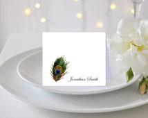 PEACOCK FEATHER WEDDING Placecard | Personalized Peacock Feather Escort Card for Wedding | Beautiful Printed Peacock Wedding Table Cards