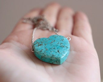 Turquoise heart. Sterling silver pendant with Turquoise Heart. Turquoise love, Turquoise necklace, Love pendant, Heart pendant, statement.