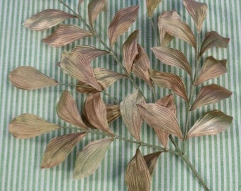Vintage Pearly Taupe & Sage Green Leaves for Bridal, Headpieces, Headbands, Boutonnieres, Bouquets, Millinery
