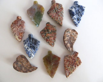 Jasper leaves, 10 Focal beads