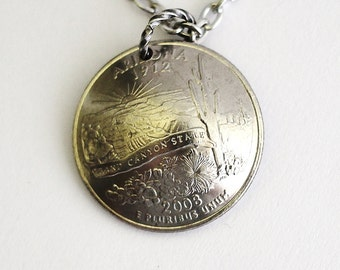Domed Coin Necklace, Arizona State Quarter Pendant, 2008, Grand Canyon, U.S. Quarter Dollar, Jewelry by Hendywood
