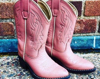 Vintage Kids Cowboy Cowgirl Boots Pink Leather Alama Brand