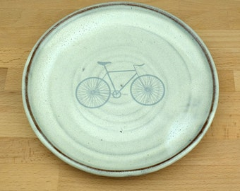 White Ceramic Side Plate with Grey Silver Bike