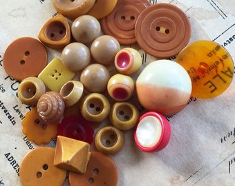 Vintage Plastic and Celluloid Button Mix #5 (22 buttons)