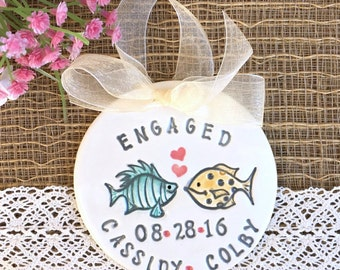 Tropical Wedding Theme Engagement Ornament with Cute Fish Couple - Personalized with Names and Date - Also a Great Wedding Ornament