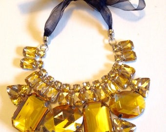 Bib Necklace Gold Crystal READY TO SHIP